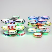 Wholesale Led Lights Different Colors - NEW Camouflage Fidget Spinner Camo with LED Light Battery Replaceable 9 Different Colors Gyro EDC Decompression Relief Stress Retail Box