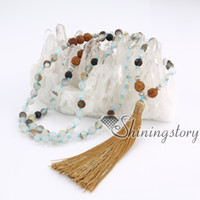 Wholesale Agate Rosary Beads - 108 mala bead necklace mantra chanting meditation beads wholesale malas beaded tassel necklace healing jewelry wholesale buddhist rosary