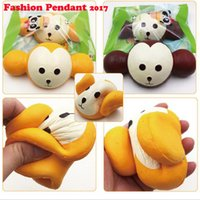 Wholesale Head Phones Charms - 18CM Kawaii Jumbo Squishy Monkey Head Super Slow Rising Charm Scented Bread Cake Phone Straps Kids Toys Gift Eric