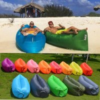 Wholesale Classic Sofa Wholesale - Camping Sleeping Bags Fast Inflatable Sofa Portable Hiking Bed Banana Sleep Bag Beach Outdoor Laying Air Beds Chairs