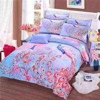 Wholesale Queen Quilt Comforter Set - New peacock 3d 4 pcs bedding set bedclothes sets Bedding Supplies sheet quilt cover duvet cover Pillowcase Home Textiles