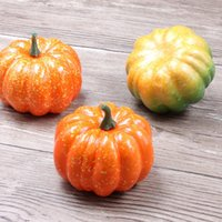 Wholesale Artificial Pumpkins - Wholesale-8.5*5.3CM Artificial Simulation Pumpkin Fruits Conversion Garden Family Kitchen Kindergarten Handwork DIY Decoration Fruit