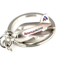 Wholesale Plane Keyrings - 10pcs Lot Airliner Keychain Fashion American Civil Aviation Aircrafts Airlines Air Plane Key Chain Ring Key Fob Keyring 86020