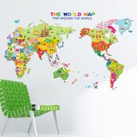 duvar kağıtları duvar kağıdı toptan satış-7123 Karikatür Kelime Harita Duvar Çıkartmaları Çıkarılabilir Çıkartmalar Karikatür Çocuk Odası Ev Dekor Için PVC Duvar Kağıdı Yüksek Kalite Ücretsiz Kargo