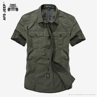 Wholesale AFS JEEP Cotton Casual Shirts Men New Short Sleeve Loose Army Military Tooling Pockets Breathable High Quality Dress Shirt