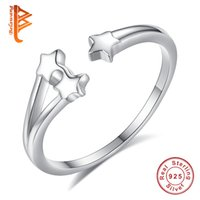 Wholesale Ring Finger Girls - BELAWANG Authentic 925 Sterling Silver Star Open Finger Rings for Women Girls Christmas Day Fashion Jewelry Gift fit Size 7-8 Free Shipping