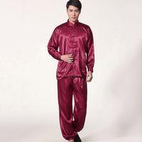 Wholesale Chinese Silk Pajama - Wholesale Men Sleepwear Traditional Chinese Style Pajamas Silk-Like Long Sleeved Tai Chi Suit Leisure Clothing Homewear JK0071