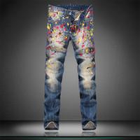 Wholesale Big Star Capris - Wholesale-Super-Star Style Big Brand Printed Men Jeans Fashion Cotton Denim Jeans Men Slim Straight Washed Mens Jeans