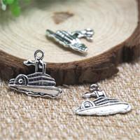 Wholesale Cruise Ships - 20pcs- cruise ship Charms Antique Tibetan silver cruise ship Charms pendants 24x20mm