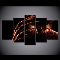 Wholesale Oil Painting Framed Set - 5 Pcs Set Framed HD Printed nightmare on elm street freddy Painting on canvas room decoration print poster picture Free shipping ny-1419