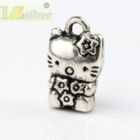 Wholesale Cute Cat Jewelry - Cute Flower Cat Charms Pendants 80pcs lot 9.3x15mm Antique Silver Fashion Jewelry DIY Fit Bracelets Necklace Earrings L072 LZsilver