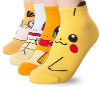 meias chinelo venda por atacado-Monstro Anime Dos Desenhos Animados Pikachu meias de algodão Moda Feminina Crianças Teen Tornozelo Meias chinelos Meias transporte da gota