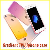 manzana a través al por mayor-Para iPhone7 / 6S caso Ultra-Thin Gradient Protection TPU de alta calidad Soft Case Venta al por mayor con Opp paquete vía envío gratuito