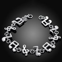 Wholesale High Fashion Music - 100% new high quality 8 inch 925 silver Music Charm Bracelet Fashion Girl Jewelry free shipping 10pc