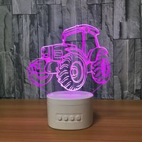 Bluetooth Speaker Lâmpada 3D Illusion LED com luzes RGB TF Card Slot CC 5V USB Carregamento recarregável Mixed Lot Atacado