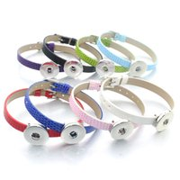 Wholesale Watches For Men Imitation - NOOSA snap button Leather Bracelet DIY 18MM Snap Buttons 8mm wide watch band Slides Charms bracelet Jewelry Accessaries for women men
