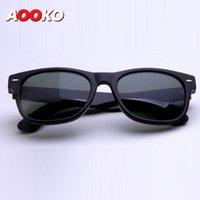 Wholesale 55mm Color Lens - AOOKO Sunglasses High Quality Plank black Sun glasses glass Lens G15 Green Sun glasses beach sunglass Glass Polarized sunglasses 52 55mm