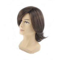 Wholesale Hair Styles Fringes - wigs styles Similler Men's Short Style Wavy Bouncy Side Swept Fringe Bang Hairstyle Dark Brown Color Hair Wig