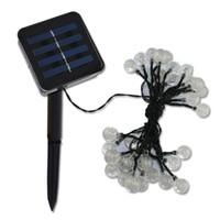 elektrik şeritleri toptan satış-Yüksek Kaliteli Güneş Enerjili Led Açık Dize Işıkları 6 M 30 LEDs Kristal Top Küre Peri Şerit Işıklar Dış Bahçe Parti Noel için