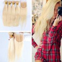 Wholesale Cheap Weave Hair Closure Blonde - 613 Russian Blonde Virgin Hair Straight Weave 3 Bundle with Closure Deals Cheap Straight Human Hair Bundles 8A Russian Blonde Hair Bundles