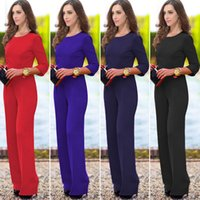 Wholesale Three Quarter Sleeve Jumpsuits - Ladies Womens Jumpsuit Long Pants Sexy Catsuit Solid Color Back Leakage Three Quarter Sleeve Dress Pants