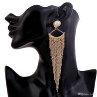Wholesale Tassel Pearl Mother - Imitation Pearl Drop Earrings Fashion Gypsy Bohemian Popular Cute Beads Gold Color Ethnic Vintage Maxi Long Tassel Dangle Earrings Women