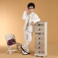 yeni model elbise erkekleri toptan satış-Yeni Beyaz% 100% Pamuk İlkbahar Yaz Boys 'Kıyafet 6 adet suit Boy elbise Bluz pantolon yelek gömlek papyon kuşak