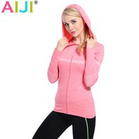 Wholesale-Women Running Sports Clothing Camisola de manga comprida de secagem rápida para roupa feminina Fitness Zipper Hat Jacket Outerwear