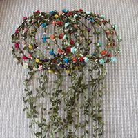 Wholesale Purple Headbands For Wedding - Women and Children Handmade Wreaths 12 Flowers Headband More Colors For Bride Wedding Wear