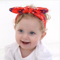Wholesale Floral Celebrations - New Baby Girls American independence day Headbands National Day Celebration Bunny Ear Hairbands Infant Children Kids Hair Accessories KHA264