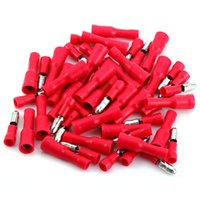 Wholesale Red Premium Brass Male Female Solderless Crimp Bullet Plug Connectors Insulating PVC Sleeve