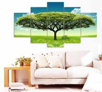 peinture photo verte achat en gros de-5 panneau grand affiche Hd imprimé peinture à l'huile Big Green Tree toile impression maison décorative murale art photo pour salon F0290