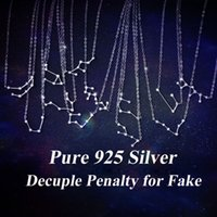 Wholesale 12 Zodiac Signs Pendant - 2017 Fashion Popular Necklace 925 Pure Silver 12 Constellations Zodiac Sign Pendant Chrismas Gift free shipping