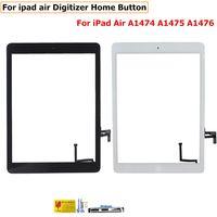 cable flex de pantalla ipad al por mayor-Vidrio frontal para iPad 2 3 4 5 Air Mini 1 2 Pantalla táctil digitalizador Flex Cable Home Assembly Assembly con adhesivo