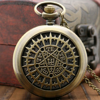Wholesale Pocket Watch Half Hunter - Wholesale-Vintage Retro Half Hunter New Black Butler Japan Anime Analog Quartz Pocket Watch with Chain Necklace Pendant