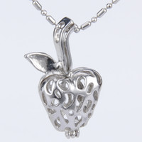 Wholesale strawberry pack for sale - Pack of silver plated strawberry shape cage pendant mm