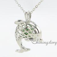 женские медальоны оптовых-Дельфин масло диффузор ожерелье серебряный медальон золотые медальоны для продажи дамы серебряные медальоны
