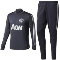 Wholesale United Shipping - Top quality 17 18 new Long sleeve Blue Soccer training suit 2017-2018 men football jerseys sportswear blue foot shirts United free shipping