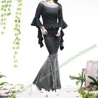 Wholesale Tight Maxi Skirts - Fashion Vintage Casual black Splice Mermaid Fishtail Tassel Jenas maxi skirts   Tight stretch denim full pencil Long Skirt