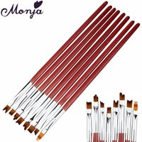 Wholesale french manicure nail polish set - Wholesale- 8Pcs set Pro Nail Art Pen Brush Wooden Handle French Tips Smile Moon Shaped Acrylic UV Gel Polish Painting Drawing Manicure Tool