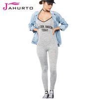 Wholesale Wholesale Open Back Bodycon - Wholesale- Jahurto Gray Womens Jumpsuit You Look Amazing Today Printed Open Back Spaghetti Strap Sexy Bodycon Jumpsuit Long Jumpsuit