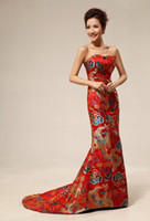 Wholesale Strapless Cheongsam Dress - Red color US2-US10 Custom made New fashion chinese tradition cheongsam strapless sheath embroidery evening dress