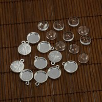 Wholesale Thick Cabochon - 12mm Domed Transparent Glass Cabochons and Alloy Pendant Cabochon Settings,Pendant: 18x14mm, Glass Cabochons 12mm ,5.5mm thick.