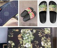 Wholesale Heel Flip Flops Women - Fashion slide sandals slippers for men women WITH ORIGINAL BOX 2017 Hot Designer flower printed unisex beach flip flops slipper BEST QUALITY