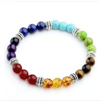 Wholesale Agate Products Wholesale - hot sale Chakra Bracelet New Products 8mm Natural Stone Beaded Yoga Meditation Energy Jewelry Fashion Accessories