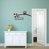 Wholesale Owls Removable Wall Art - Owl on a Branch Welcome Quote Wall Stickers Art Vinyl Removable Decals for Sitting Room Decoration