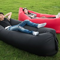 Wholesale Sun Lounger Wholesale - Wholesale- Two Styles Air Sleeping Bag Hangout Inflatable Hammock Air Bed Customized Portable Outdoor Sun Lounger 240*70cm Drop Shipping