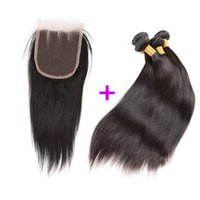 Wholesale Hair Extensions Indian 1pcs - Unprocessed Brazillian Peruvian Indian Malaysian Hair Bundles 3pcs Straight Hair wefts Extensions with 1pcs 4*4 ear to ear lace closure