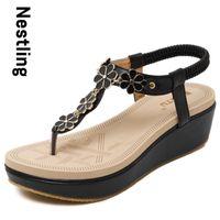 Wholesale Flower Wedges Sandals - Wholesale-Size 35-40 New 2016 Fashion Flip Flops Summer Beach Shoes Woman Bohemia Style Sweet Flowers Wedges Women Sandals D15