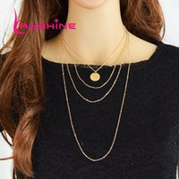 Wholesale Multilayer Body Chain - Body Chain Long Necklace Rock Style Gold Color Chain with Multilayer Female Necklace with Round Pendant
